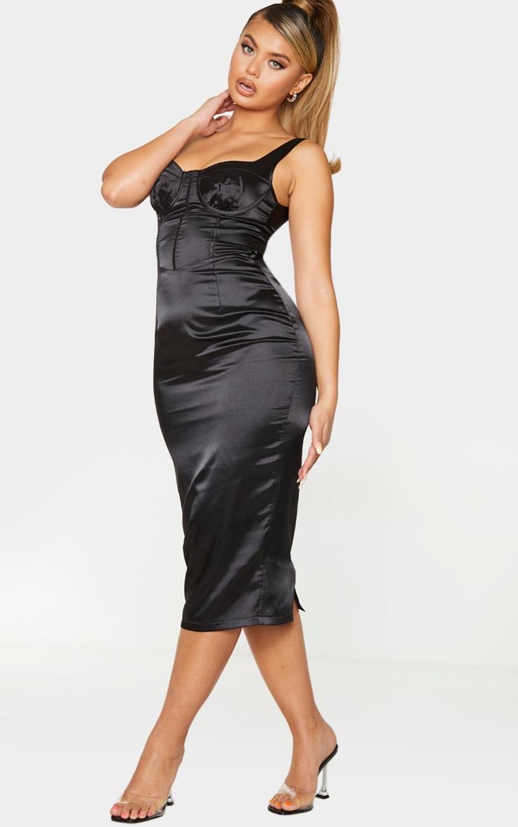 Black Satin Cup Detail Sleeveless Midi Dress 3