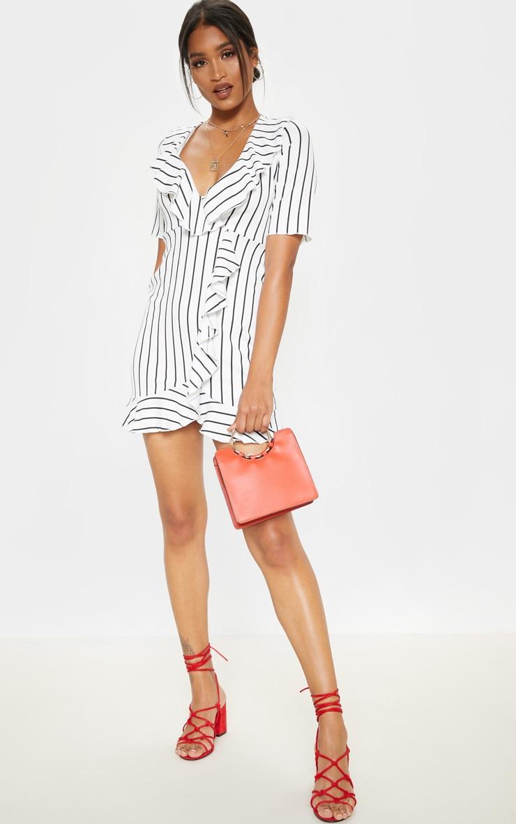 White Stripe Frill Detail Wrap Dress 4