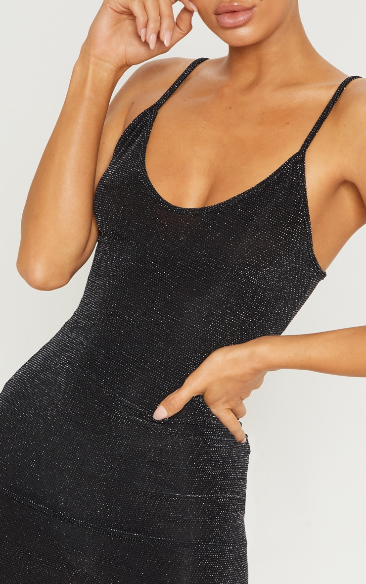 Black Strappy Textured Glitter Bodycon Dress 5