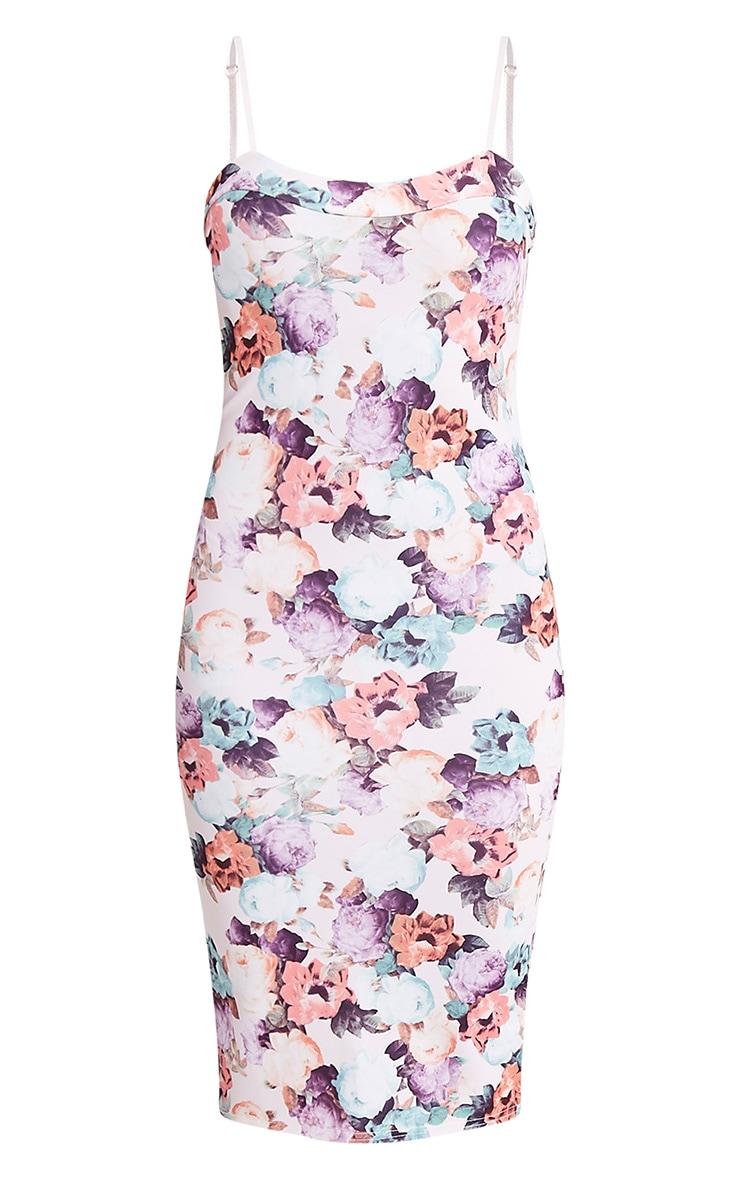 Dinah robe midi à bretelles et imprimé floral crème 3