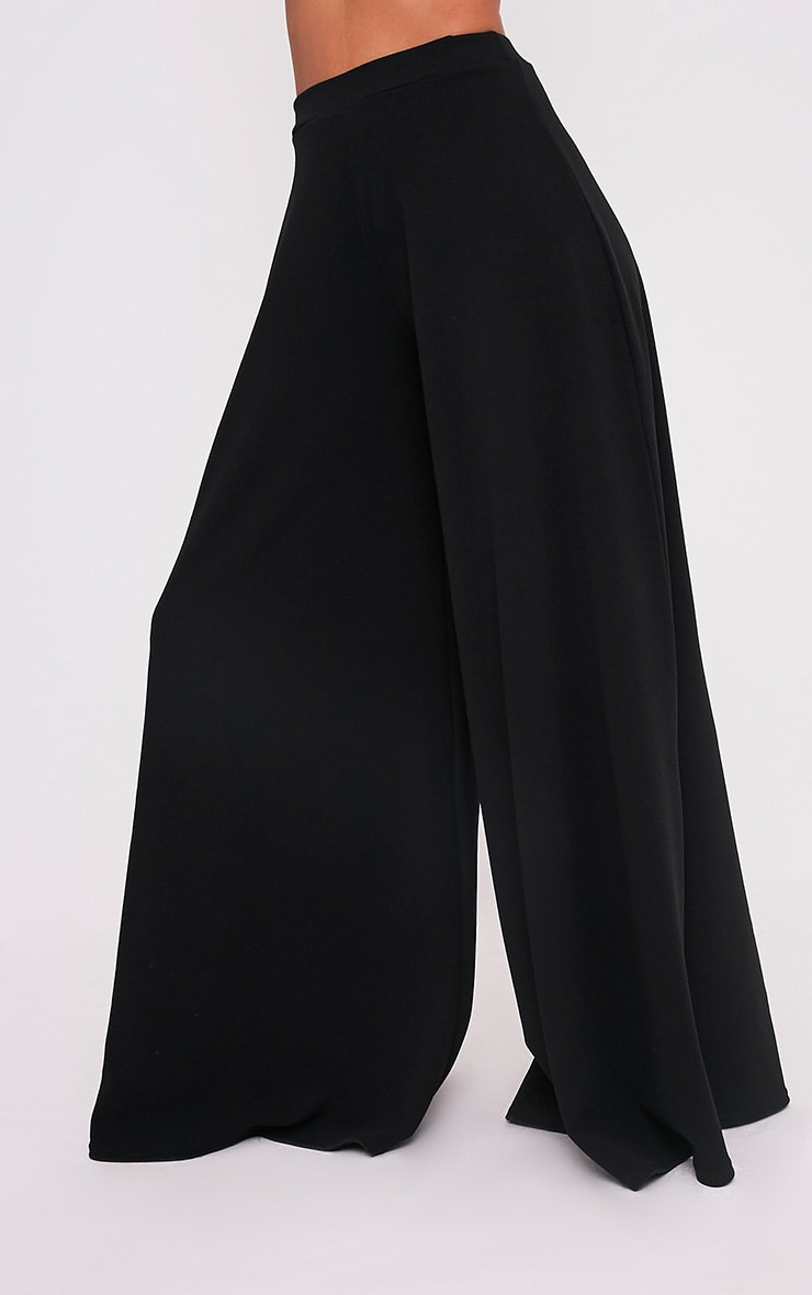 Sidney Black Extreme Wide Leg Crepe Trousers 5