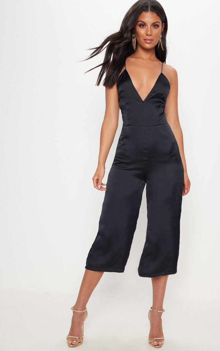 Black Strappy Back Plunge Culotte Jumpsuit