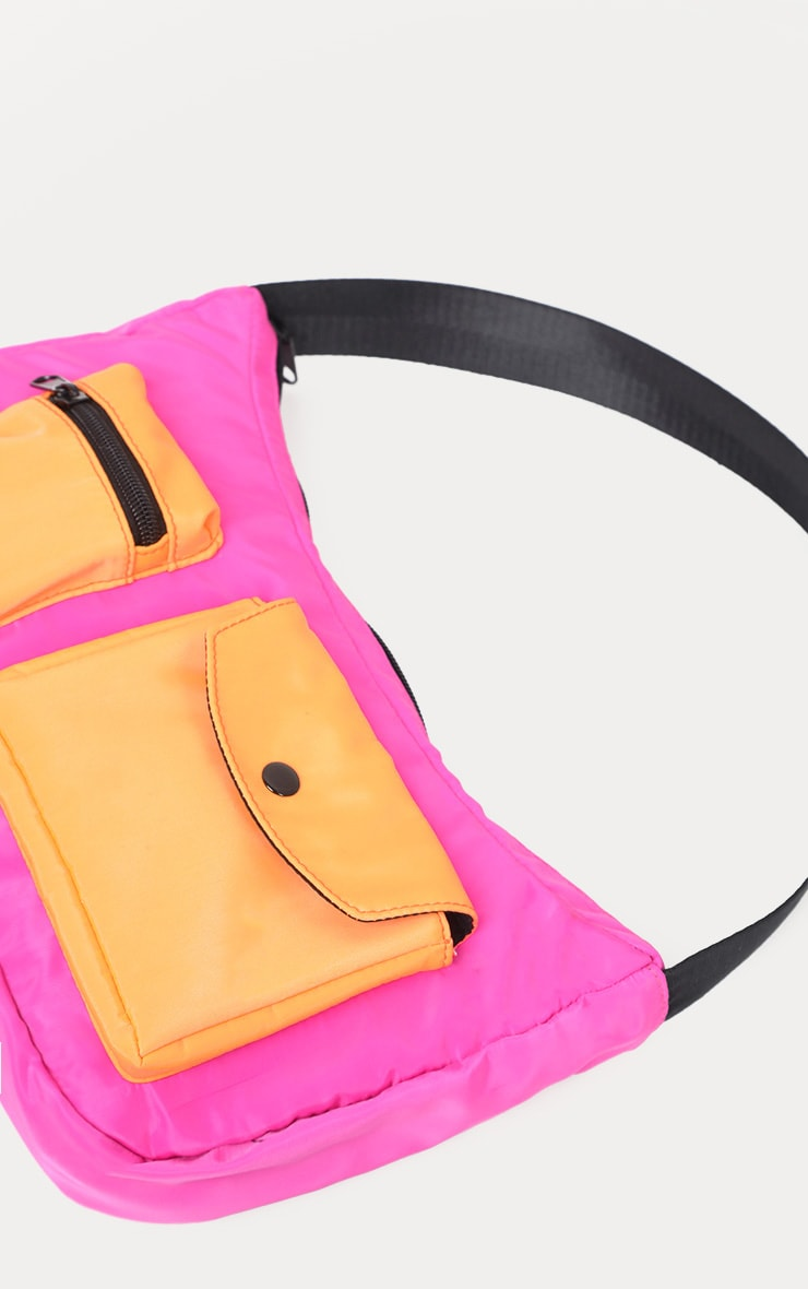 Neon Pink And Orange Double Pocket Nylon Shoulder Bag 3