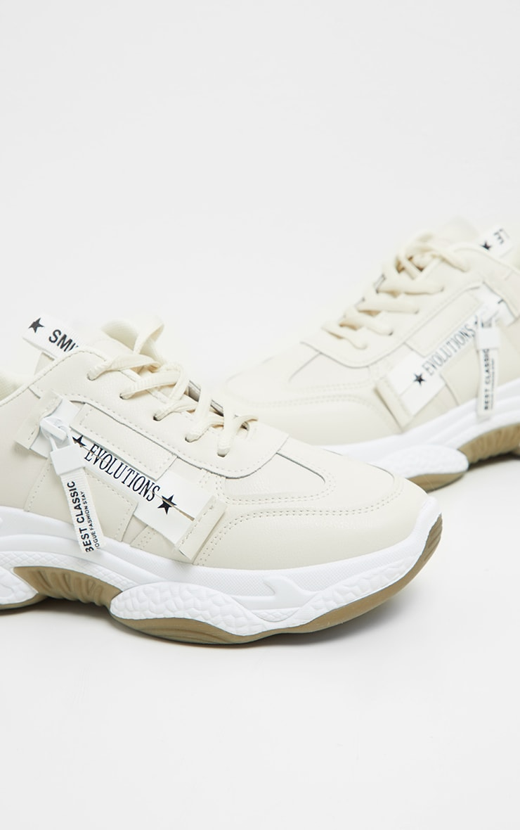 Beige Bubble Arch Sole Slogan Sneakers 3