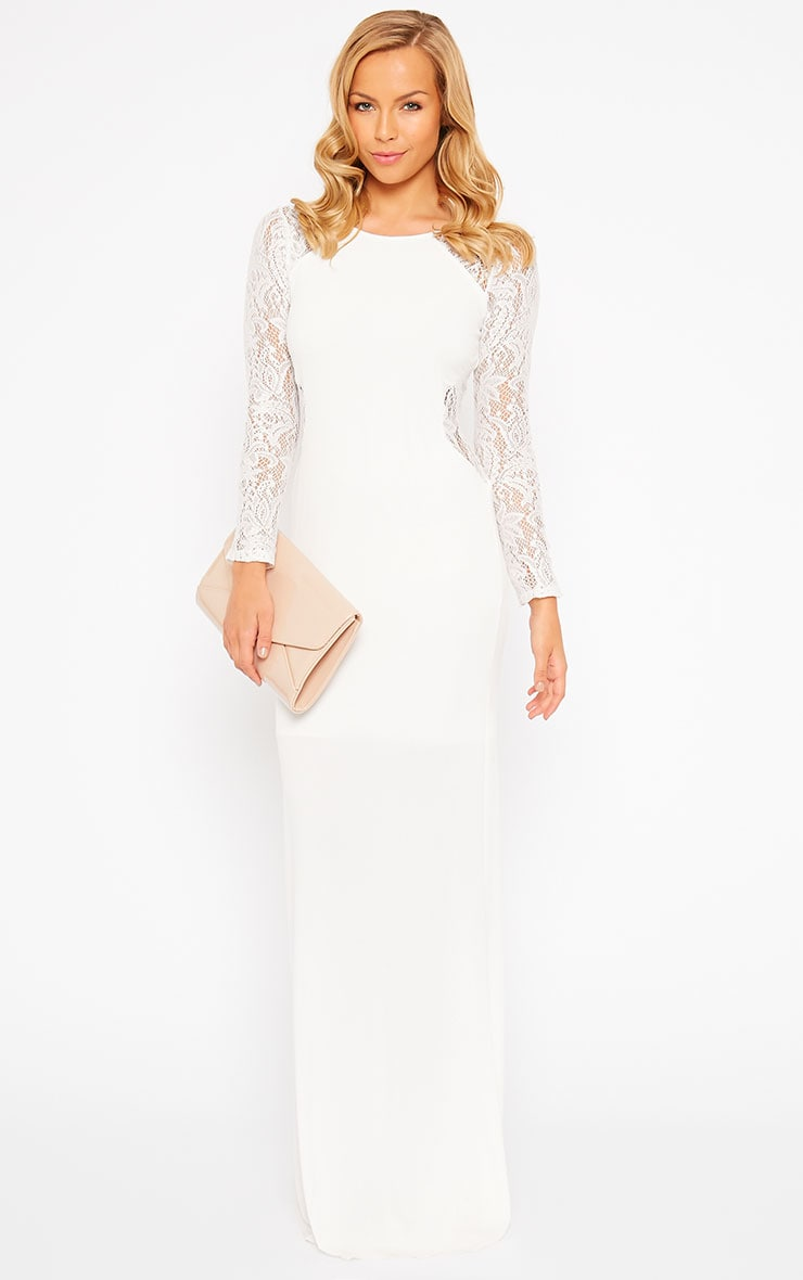 Debbie Cream Lace Insert Maxi Dress 3