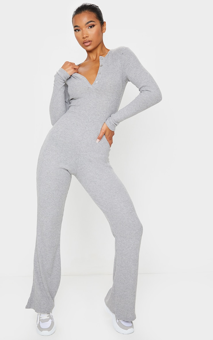 Grey Brushed Rib Button Front Long Sleeve Jumpsuit 1