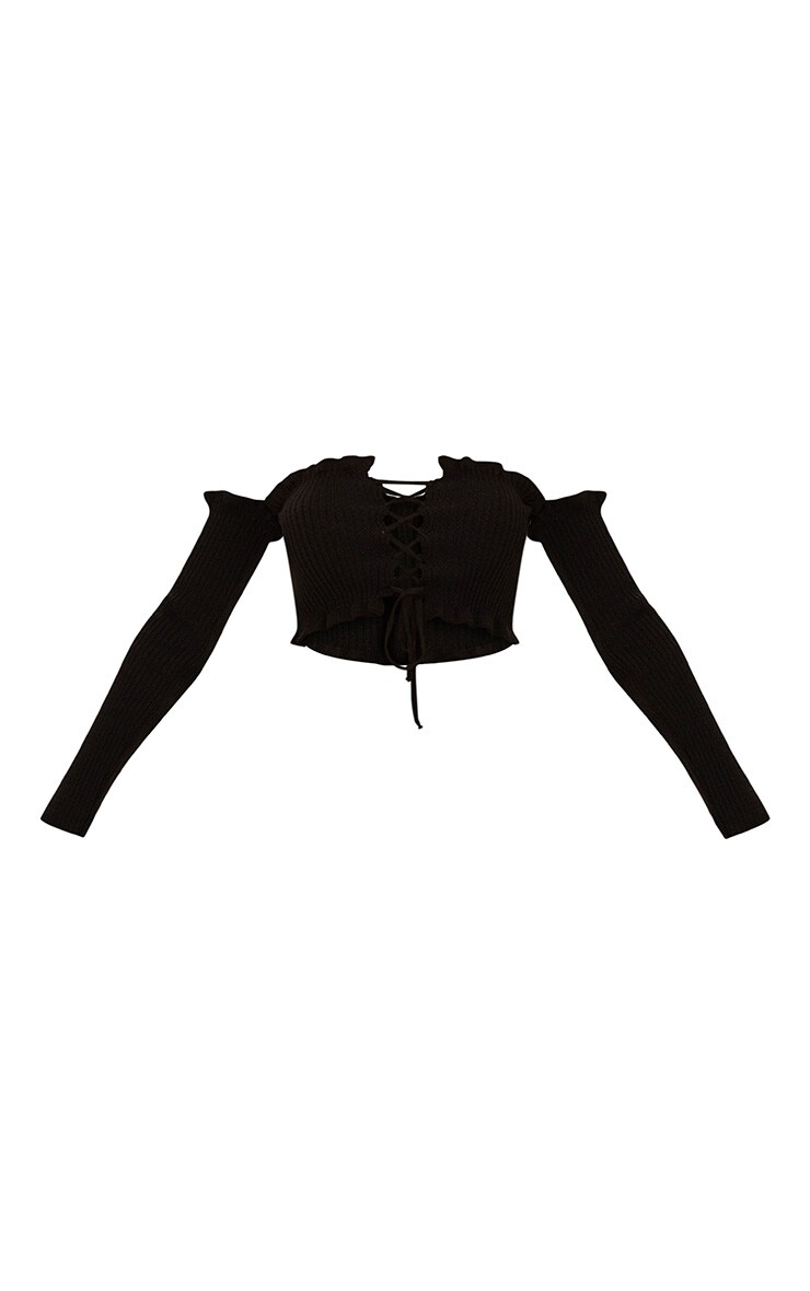 Black Ruffle Detail Knit Bardot Lace Up Jumper 3