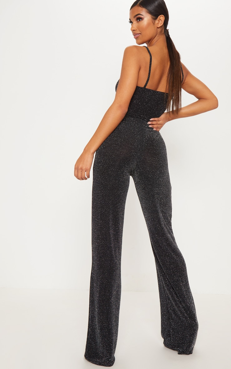 Black Textured Glitter V Bar Bandeau Jumpsuit 2