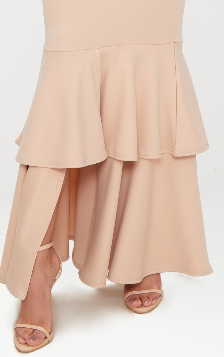Nude Bandeau Tiered Fishtail Maxi Dress 5