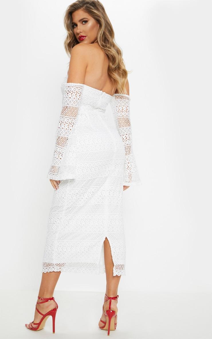 White Lace Bardot Bell Sleeve Midi Dress 2