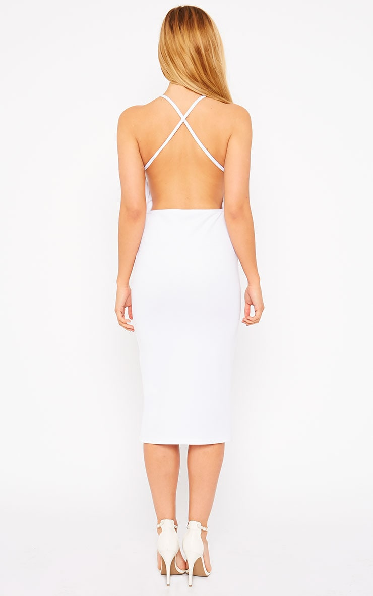 Naveen White Mesh Front Midi Dress 2