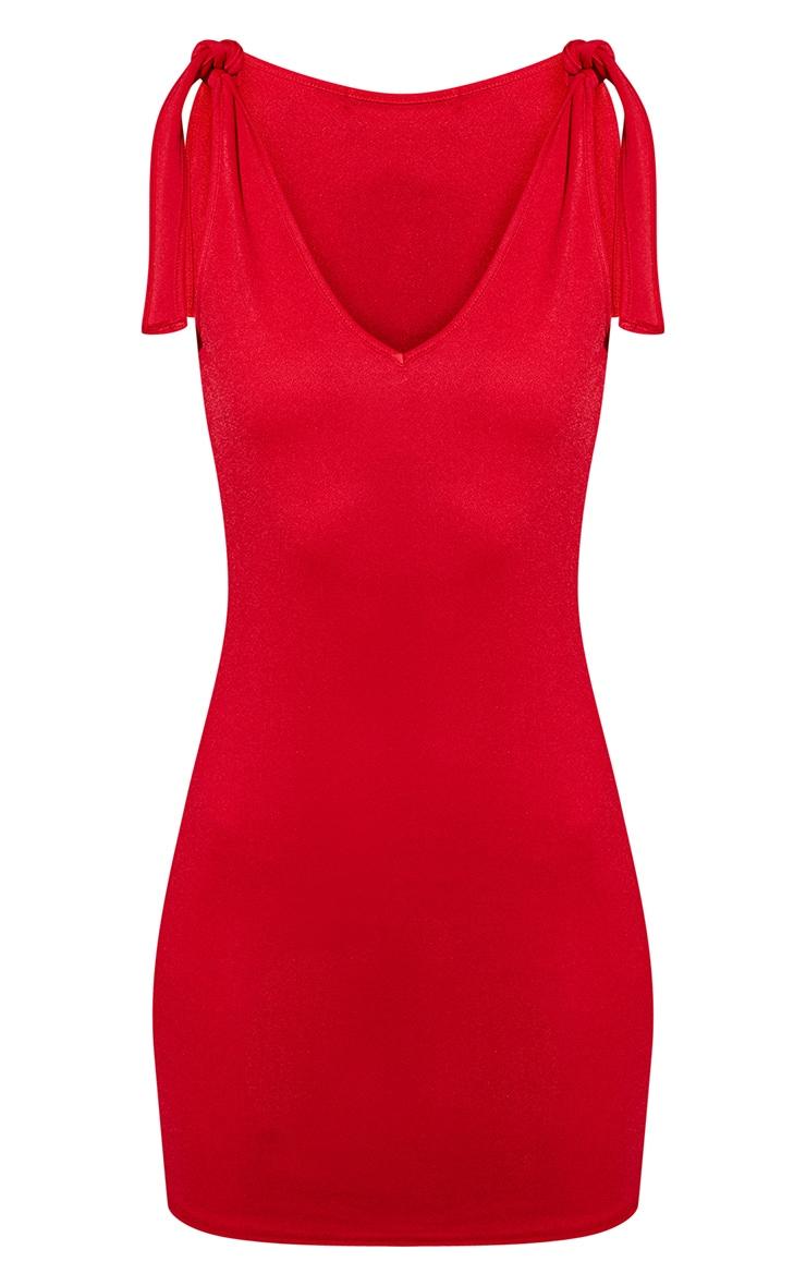 Red Tie Strap Plunge Bodycon Dress 3