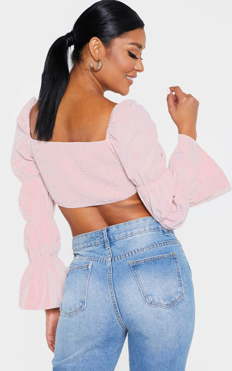 Baby Pink Ruched Long Sleeve Crop Top 2