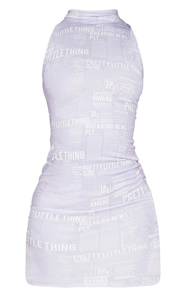 Tall Lilac Newspaper Cut Out Printed Dress 5