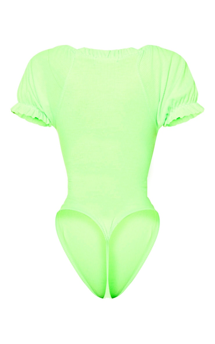 Shape Neon Lime Ribbed Puff Sleeve Bodysuit 6