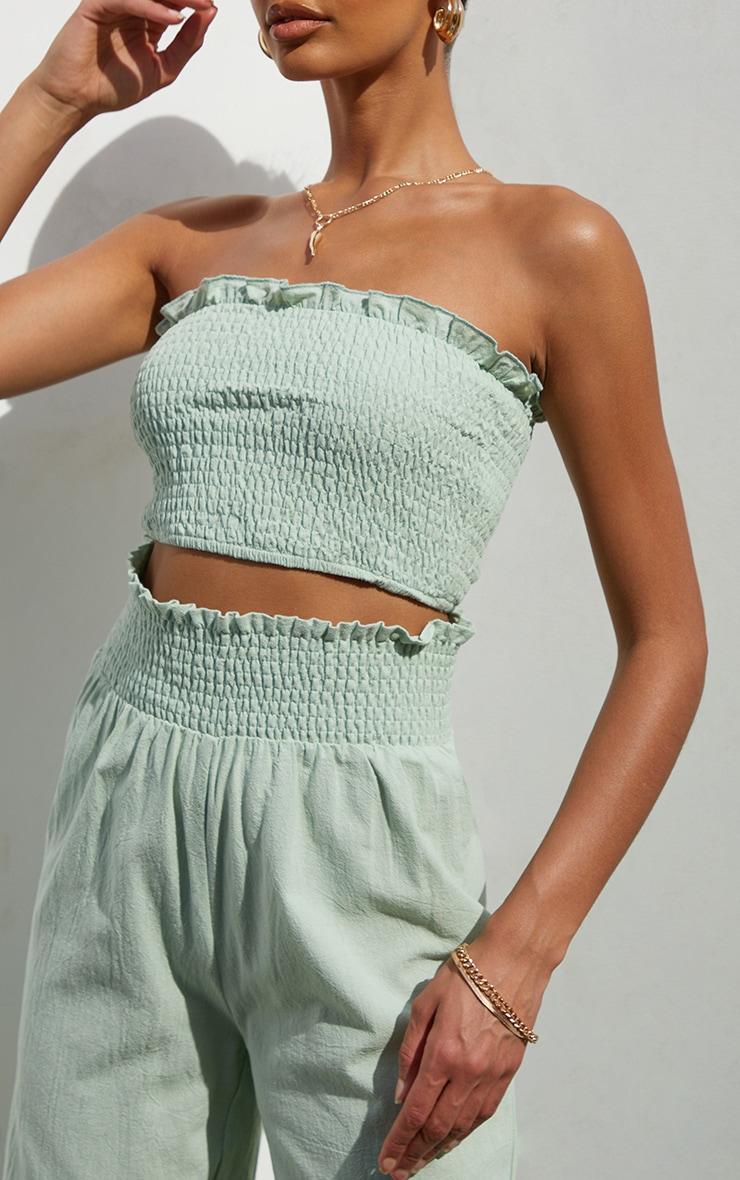 Sage Green Linen Feel Shirred Bandeau Top 4