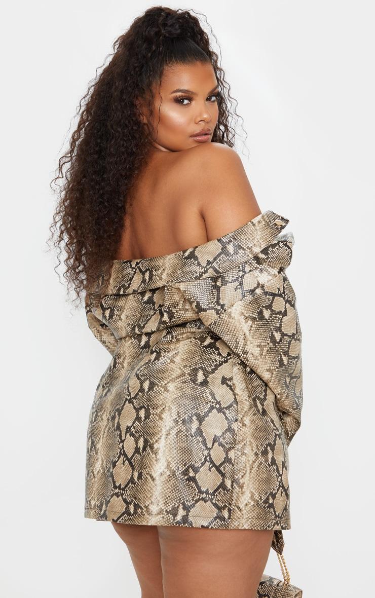 PLT Plus - Robe blazer en similicuir imitation serpent taupe à col bateau 2