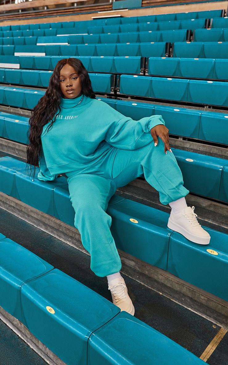 Plus Blue High Neck Crop Sweatshirt