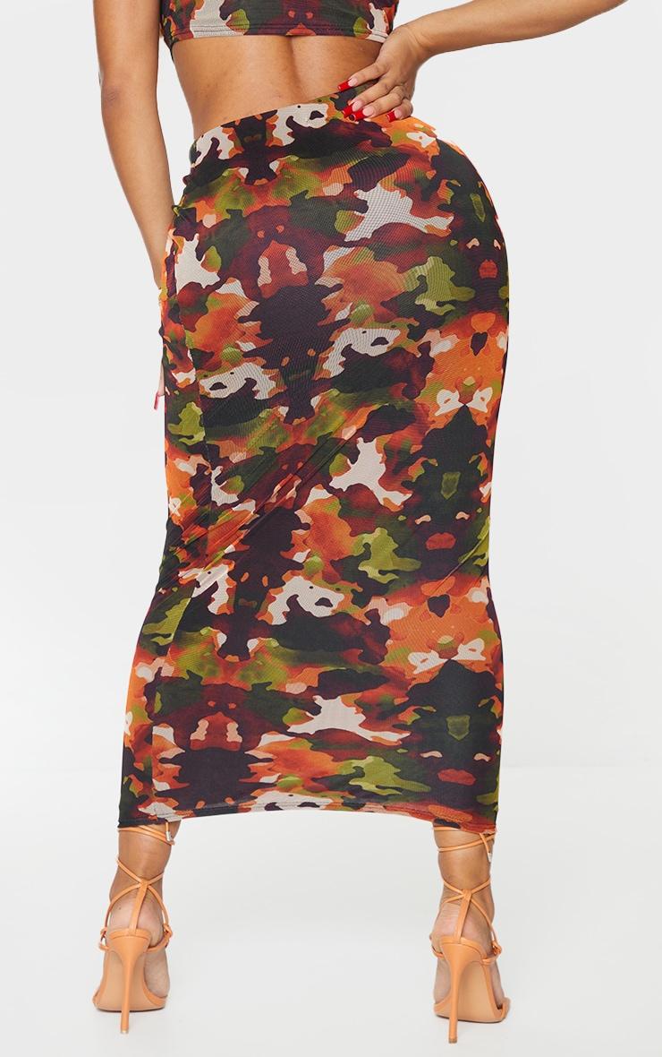 Shape Orange Camo Print Mesh Midaxi Skirt 3