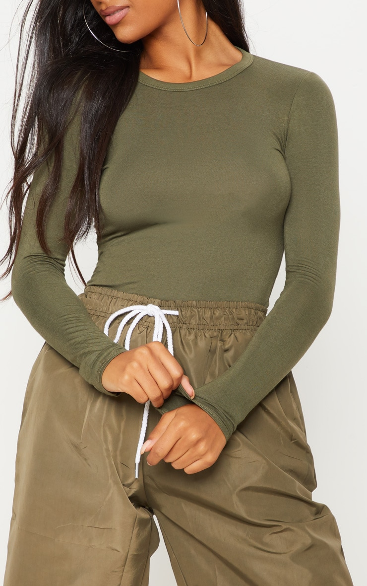 Basic Khaki Fitted Long Sleeve T Shirt 5