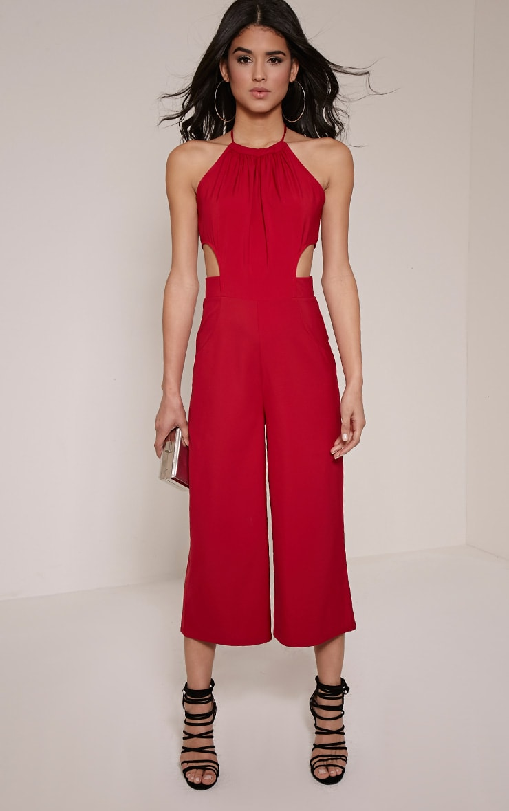 Racheal Burgundy Halterneck Cut Out Jumpsuit 1