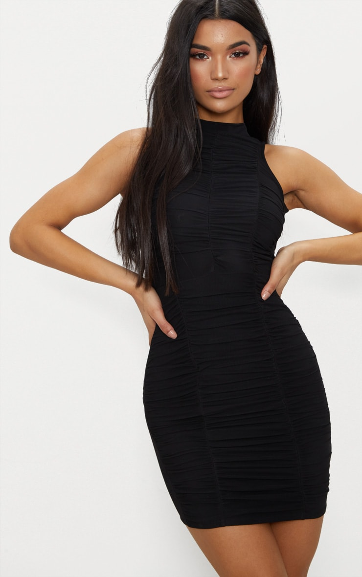 Black High Neck Ruched Detail Bodycon Dress 1