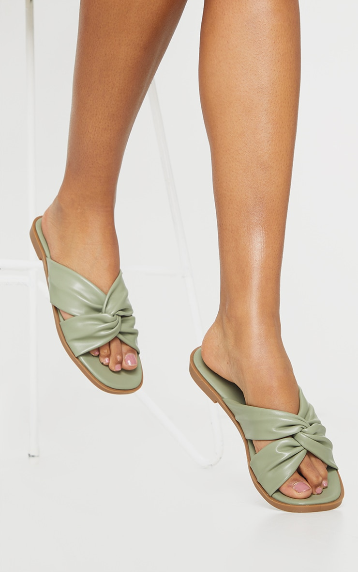 Sage Green PU Knot Detail Flat Mule Sandals 1