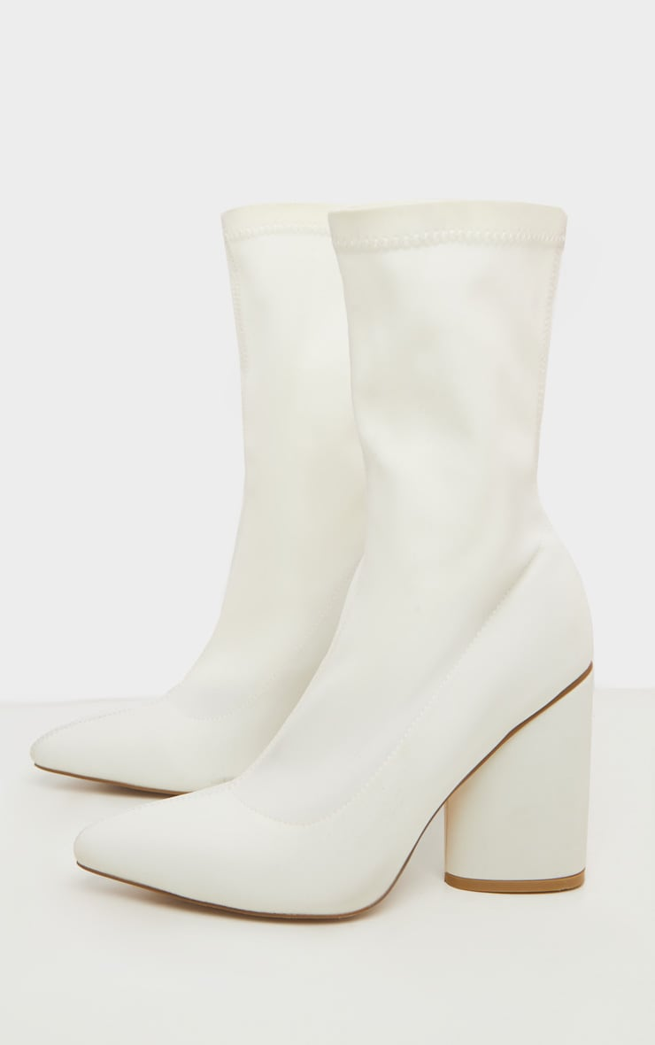 White Chunky Block Heel Sock Boot 3