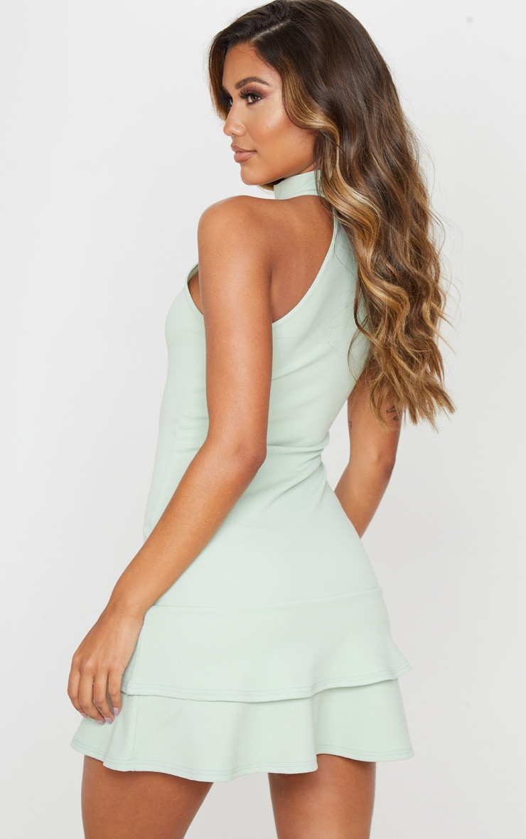 Sage Green Ruffle Hem High Neck Skater Dress 2
