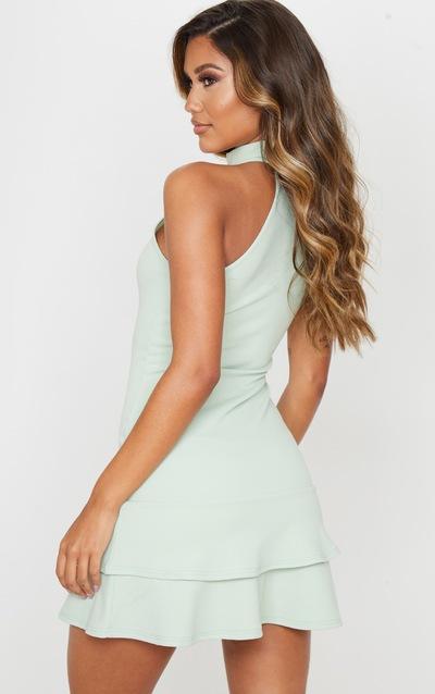 Sage Green Ruffle Hem High Neck Skater Dress
