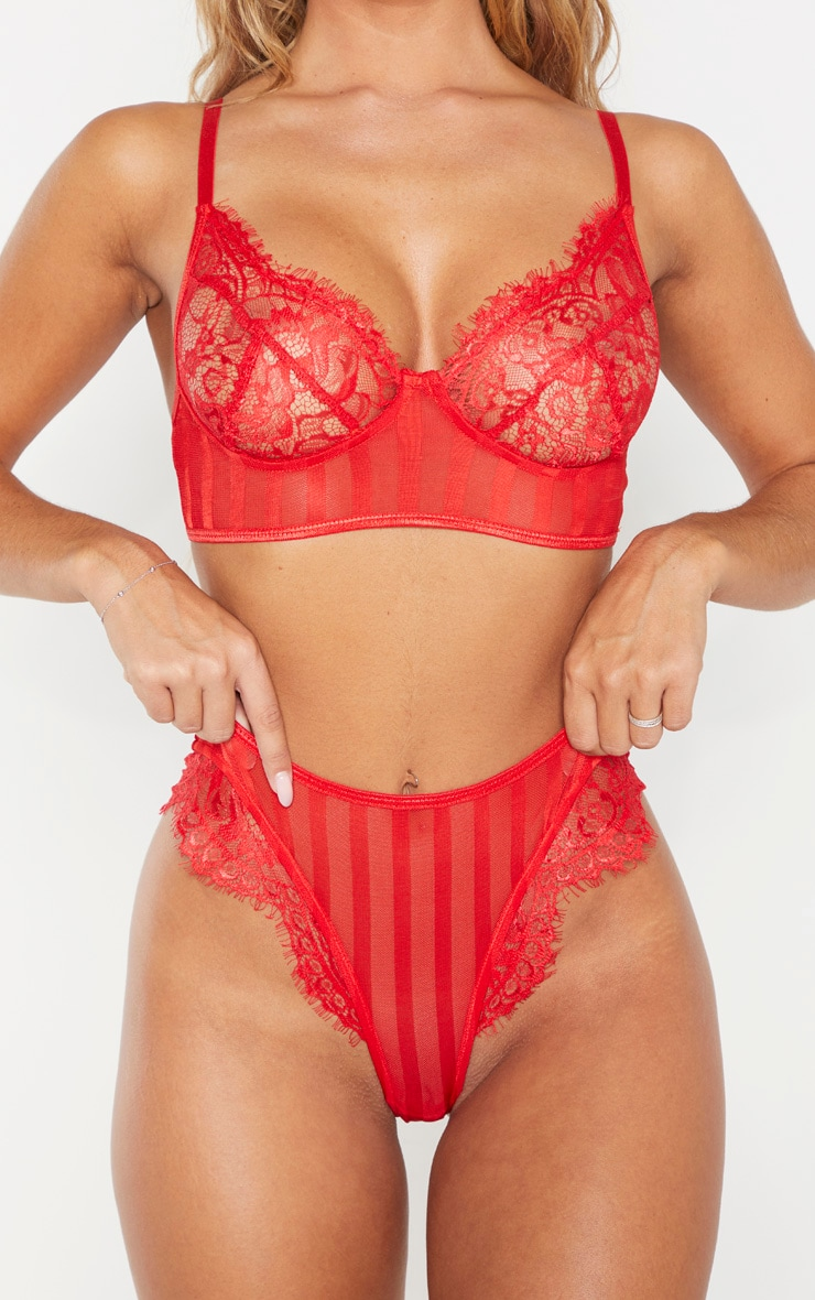 Red Striped Lace High Leg Thong 6