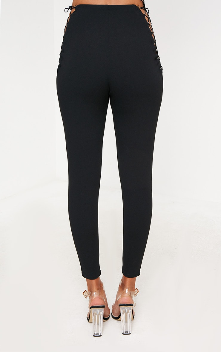 Black Lace Up Insert Skinny Trousers 4
