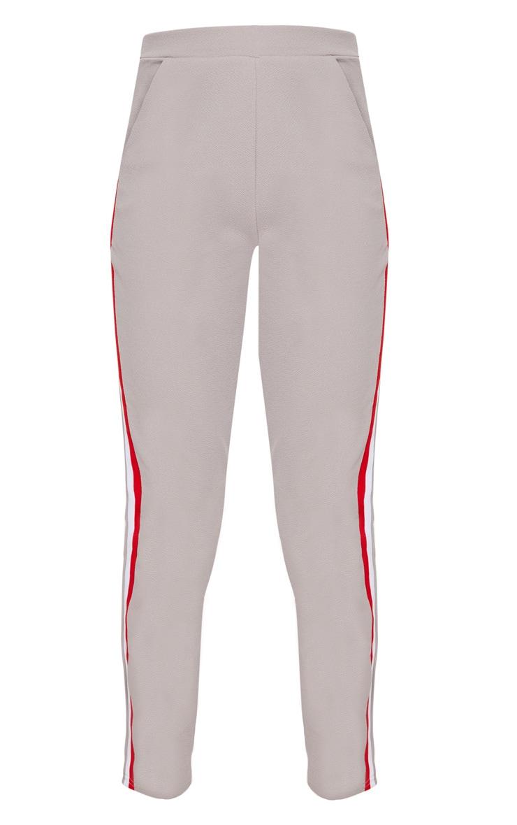 Grey Sport Stripe Cigarette Trousers  3