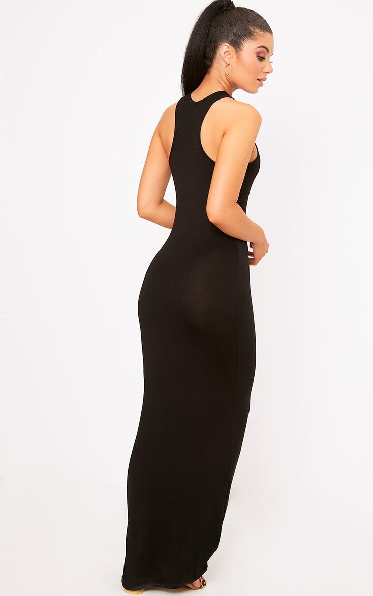Black Jersey Racer Neck Maxi Dress 2