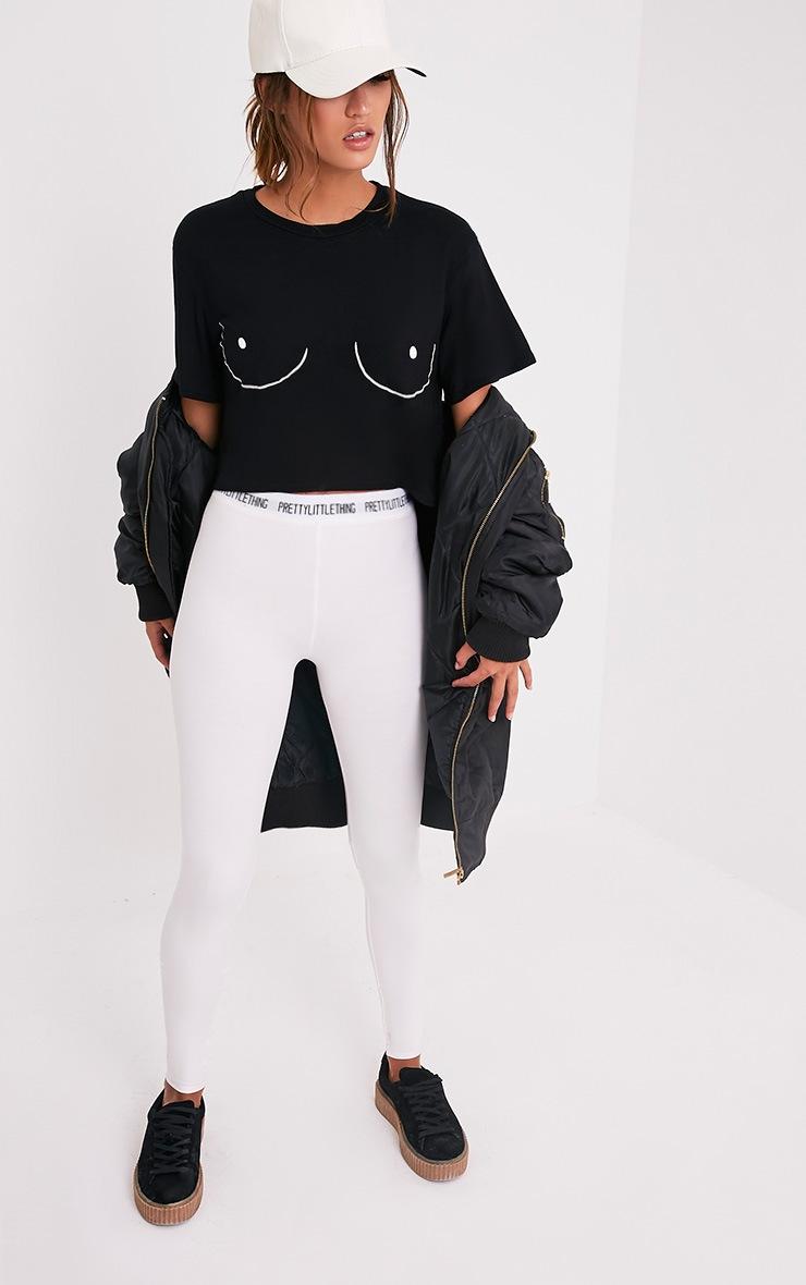 Boob Slogan Black Cropped T Shirt 5