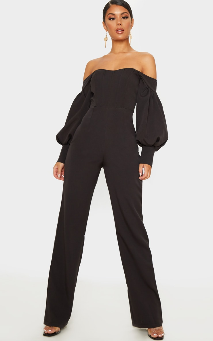 Black Bardot Balloon Sleeve Corset Jumpsuit 1