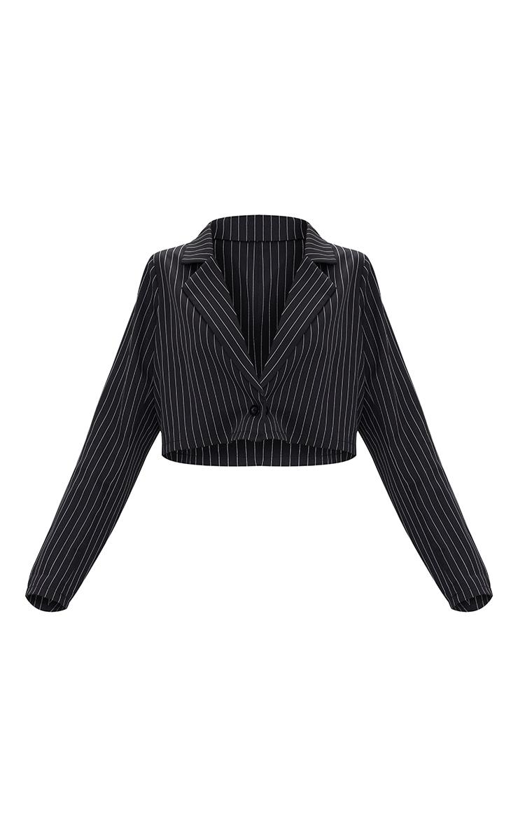 Black Woven Pinstripe Oversized Cropped Blazer 5