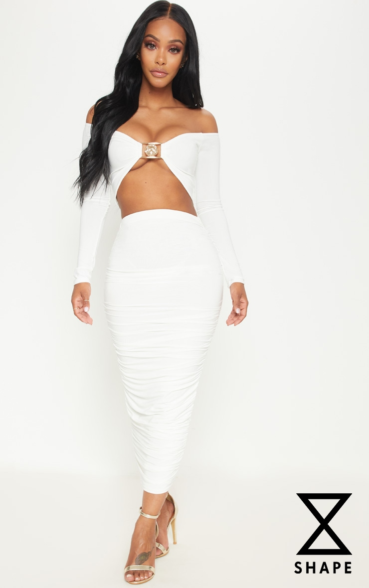 Shape White Slinky Ruched Midi Skirt