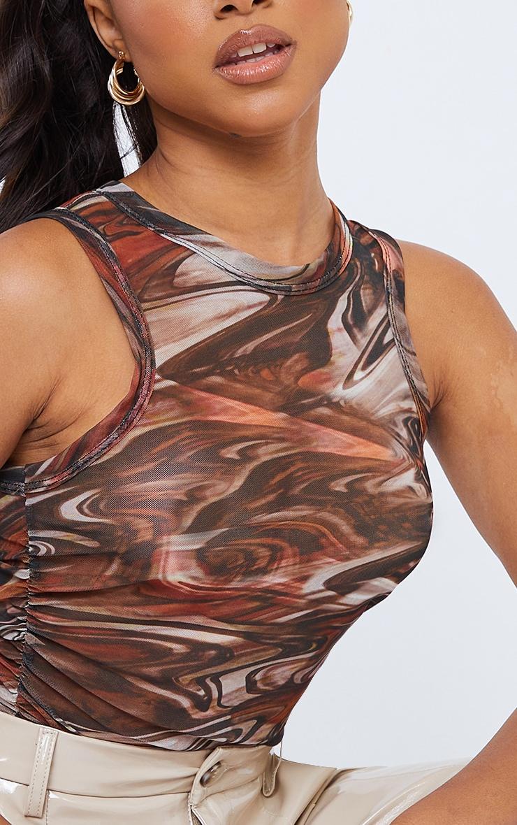 Brown Marble Printed Mesh Racer Neck Vest 4