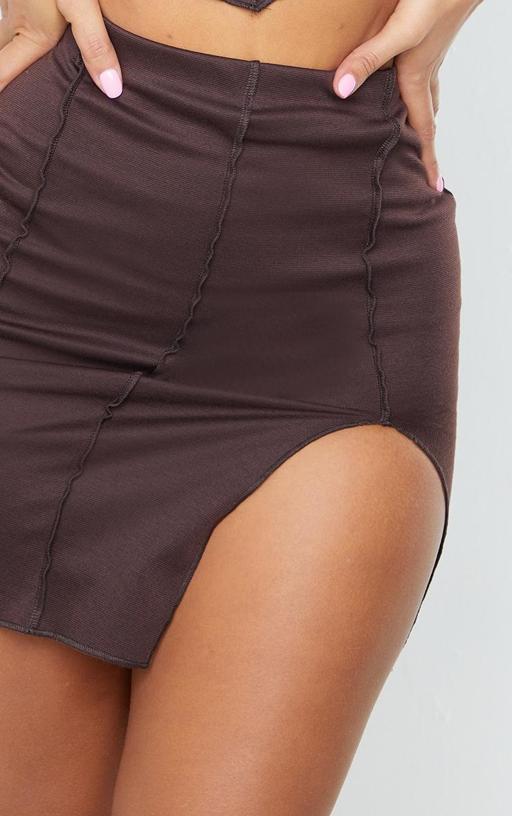 Shape Chocolate Overlock Seam Detail Bodycon Skirt 5