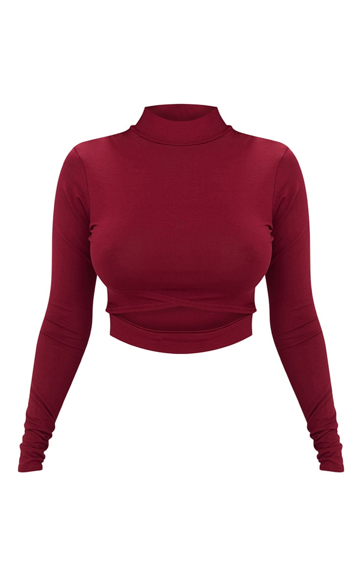 Burgundy Jersey Open Front Longsleeve Crop Top 3