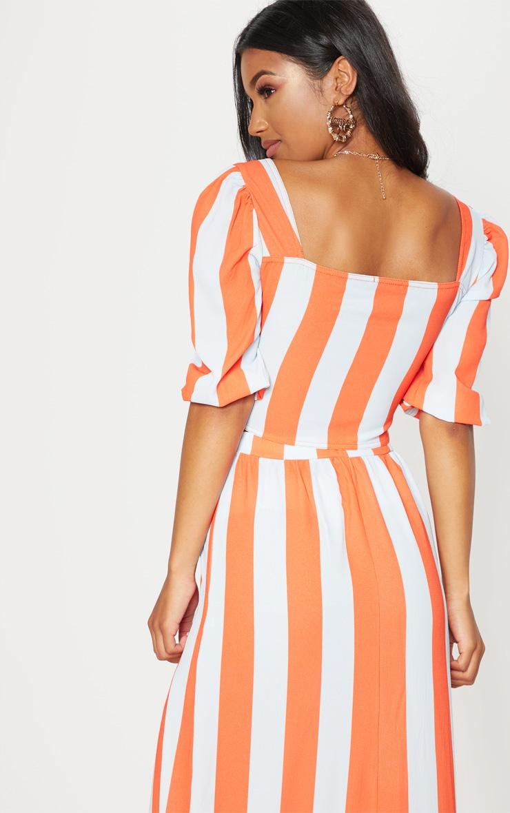 Orange Stripe Pebble Crepe Tie Front Puff Sleeve Crop Top 2