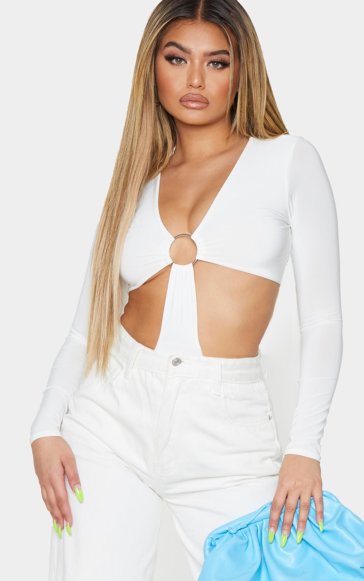 Cream Slinky Plunge O Ring Cut Out Detail Bodysuit 1