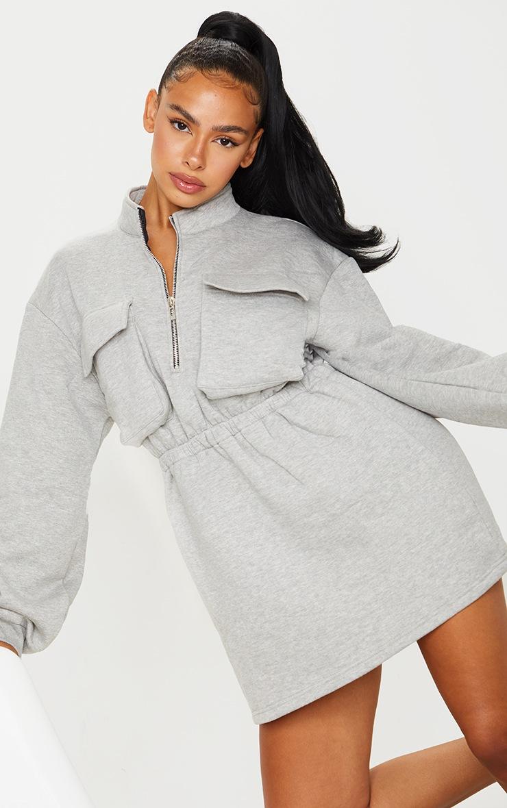 Grey Pocket Detail Elasticated Waist Sweater Dress 3
