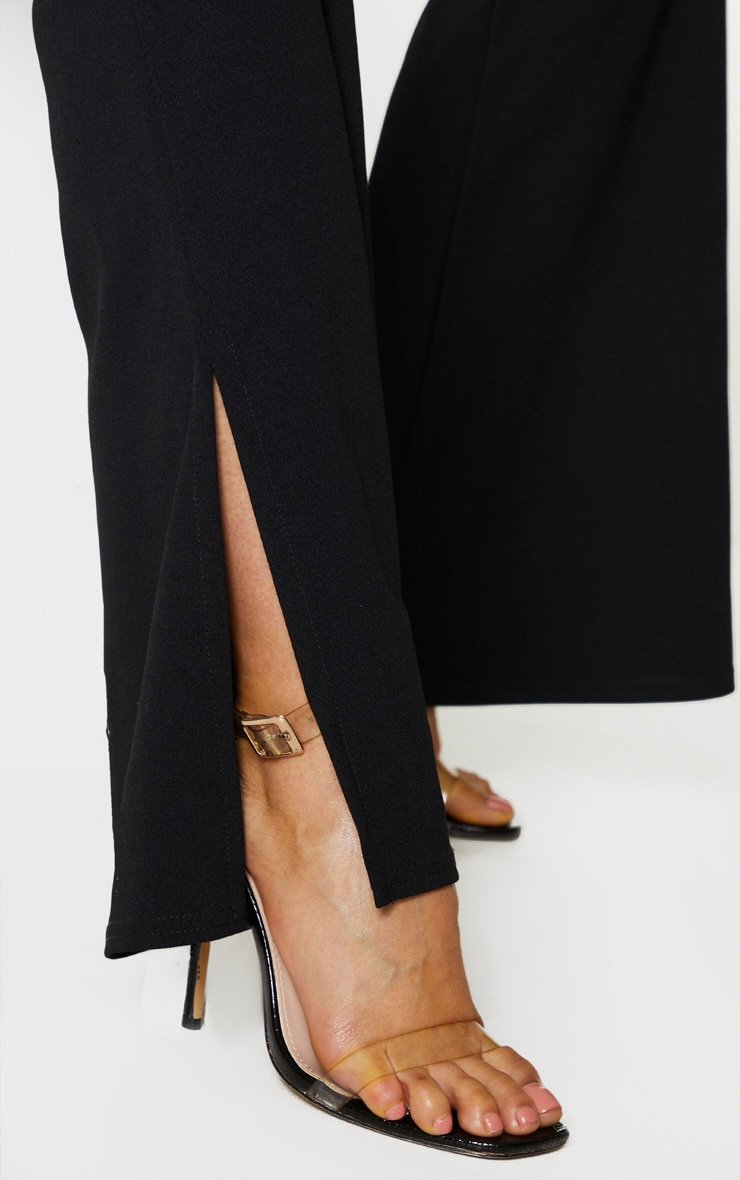 Tall Black Crepe Belt Detail Trousers 5