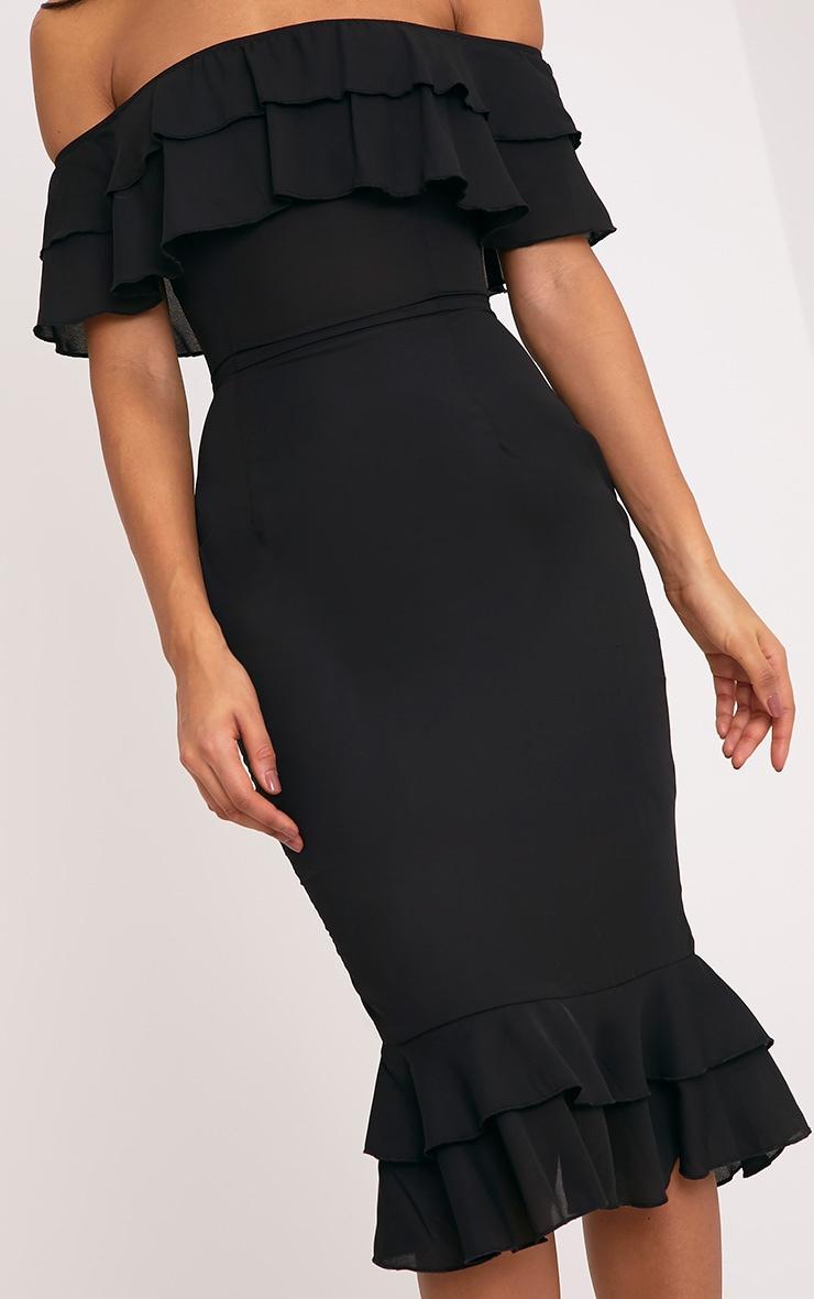 Katerina Black Chiffon Frill Bardot Midi Dress 4