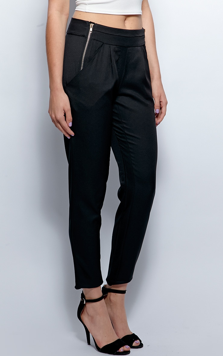 Breanna Black Tailored Linen Trousers 3