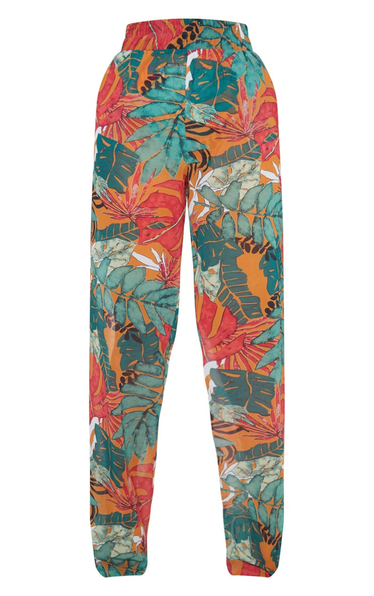 Orange Big Leaf Wide Leg Beach Pants 4
