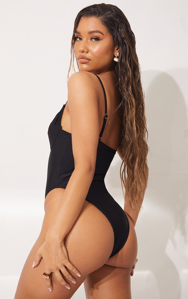 Black Ruched Cup Swimsuit 2