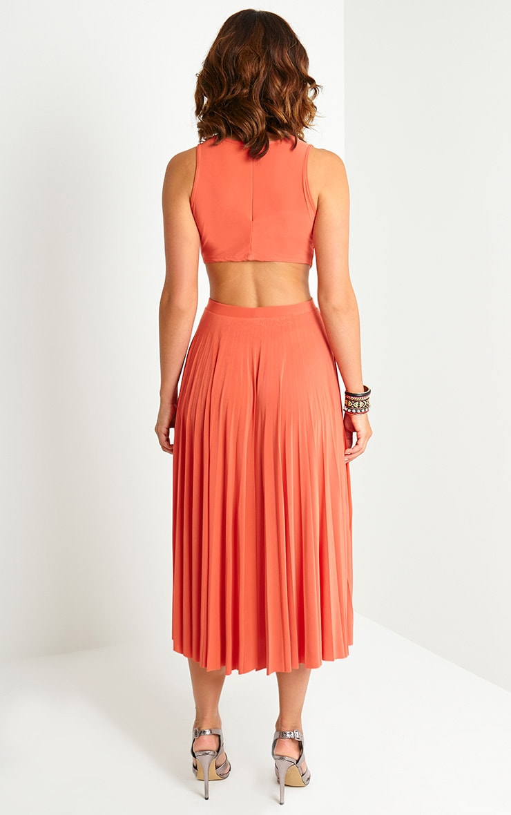 Ebony Orange Cut Out Pleated Midi Dress 2